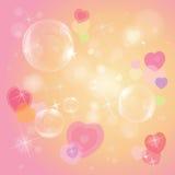 Cuori variopinti e bolle illustrazione vettoriale
