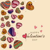 Cuori variopinti per la celebrazione felice di giorno di biglietti di S. Valentino Fotografie Stock