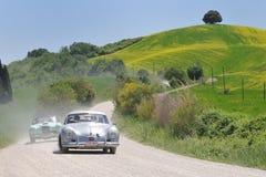 Cupé 1955 de PORSCHE 356 Pre-A 1500 en Miglia 1000 Imagen de archivo libre de regalías