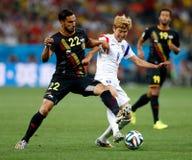 Cupê du monde 2014 de Heung-minuto de Nacer Chadli e do filho Imagem de Stock Royalty Free
