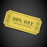 Cupón amarilla de la venta de la vendimia del vector Imágenes de archivo libres de regalías