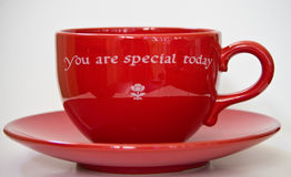 Cup. Red coffee cup with saucer Royalty Free Stock Photo
