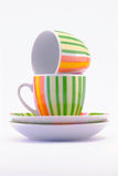 Cup. Two coffe cup with stripes royalty free stock photo
