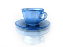 Cup. Transparent cup with a saucer on the white stock illustration