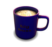 Cup. Blue cup of coffee whith foam Stock Image