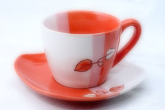 Cup. Image of red white coffee or tea cup Stock Photo