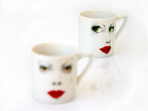 Cup. Coffee cup on white background, focus aback Stock Image