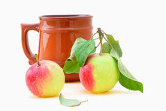 Cup and apple Royalty Free Stock Images