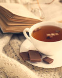Cup of apple tea and book. Royalty Free Stock Photos