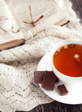 Cup of apple tea and book Stock Images