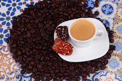 Cup of Arabian Coffee on an Oriental Colorful Background Stock Images