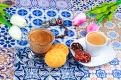 Cup of Arabian Coffee on an Oriental Colorful Background stock photography