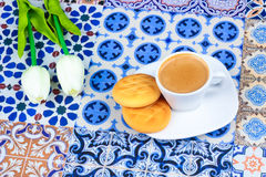 Cup of Arabian Coffee on an Oriental Colorful Background stock photos