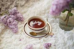 Cup of aromatic black tea with lilac branch Stock Photography