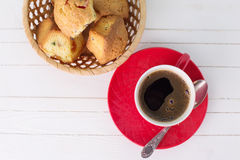Cup of aromatic coffee and homemade cakes Royalty Free Stock Photos