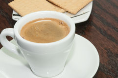 Cup of aromatic espresso  coffee and  biscuits Royalty Free Stock Photography