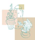 Cup of aromatic  tea. Vector illustration with a cup of aromatic  tea and place for your text Stock Photos