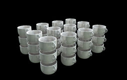 Cup Array. An array of 3D mini cups placed on a black background Royalty Free Stock Photography