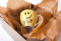 Cup as gift in box for present Stock Images