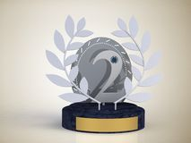 Cup award for second place competition in silver on a stand  Royalty Free Stock Images