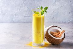 Turmeric golden milk iced latte Stock Photos