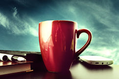 Cup on a background of blue sky Stock Photos