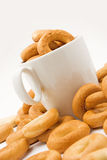 Cup with bagels Royalty Free Stock Photography