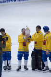 Cup of bandy. MOSCOW - MARCH 30: The champion of Russia on bandy Dynamo-Moscow at ceremony of rewarding on March 30, 2010 in Moscow, Russia Royalty Free Stock Photos
