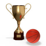 Cup with basketball ball Royalty Free Stock Photography