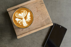Cup of beautiful Latte art Stock Photo