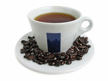 Cup and beens of coffee Royalty Free Stock Image