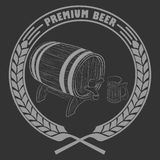 Cup of beer, barrel. Vector illustration of a barrel of beer for lable Royalty Free Stock Photography