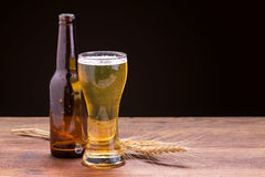 Cup of beer on wooden table. Stock Image