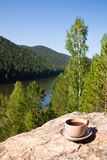 Cup on big stone over nature background Royalty Free Stock Photos