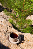Cup on big stone over nature background Royalty Free Stock Photo