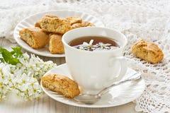 Cup bird-cherry tea Royalty Free Stock Photo