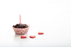 Cup birthday cake on a white background. Cup cake on a white background Royalty Free Stock Photography