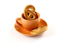 Cup with biscuit Royalty Free Stock Photography