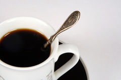 Cup of black coffee. With the spoon Royalty Free Stock Photo