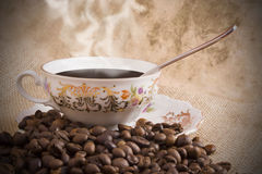 A cup of black coffee. A retro cup of italian coffee espresso Royalty Free Stock Photos