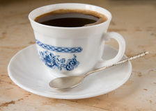 Cup of black coffee. Marble background Stock Photo