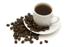 Cup black coffee. On white background stock image