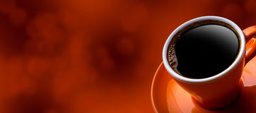 Cup of black coffee on bokeh background. Royalty Free Stock Images