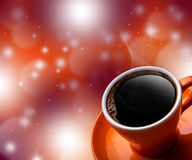 Cup of black coffee on bokeh background. Stock Image