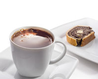 Cup of black coffee and cake Royalty Free Stock Photos