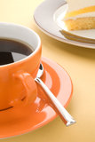 Cup of black coffee with cake Stock Photos