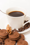 A cup of black coffee and chocolate biscuits Stock Photos