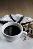 Cup of black coffee with chocolate cake Stock Photos