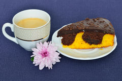 Cup of black coffee and chocolate orange cake Stock Photo