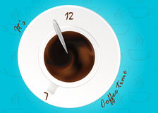 A cup of black coffee or chocolate.Realistic vector on pattern.  Concept. Coffee time, watches. Royalty Free Stock Photos